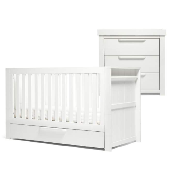 Mamas & Papas cot bed room sets Mamas & Papas Franklin 2 Piece Cot Bed Roomset White Wash SEFRWW100