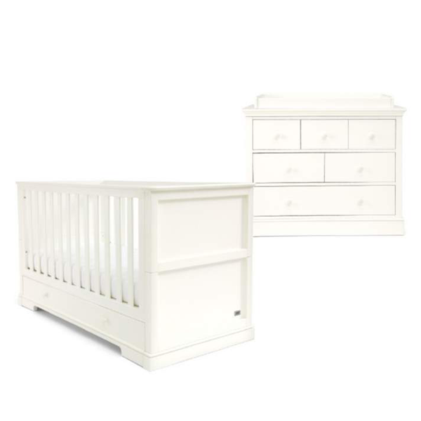 Mamas & Papas cot bed room sets Mamas & Papas Oxford 2 Piece Cot Bed Roomset White SEOX02740