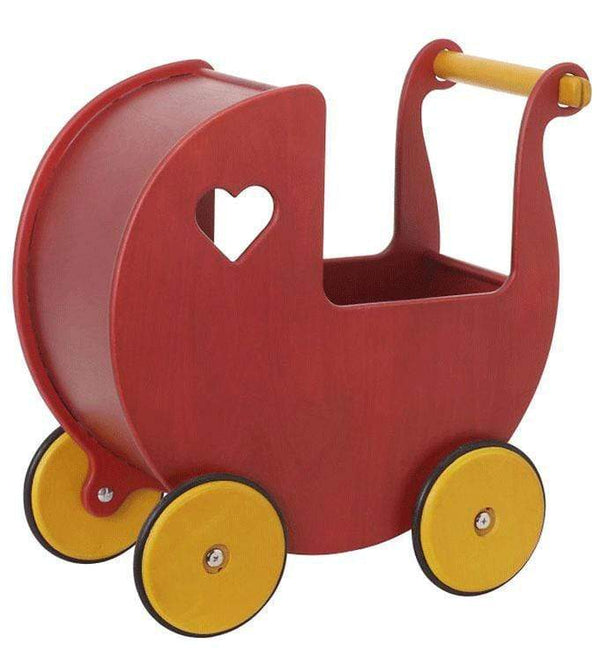 Moover push along toys Moover Wooden Dolls Pram Red MVPRAMR