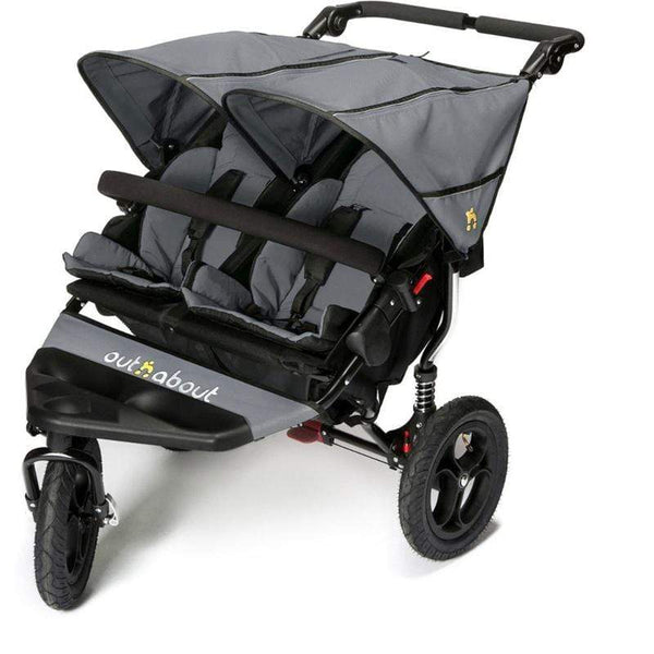 Out n About double buggies Out n About Nipper V4 Double Buggy Steel Grey/Black NIP-02SGV4