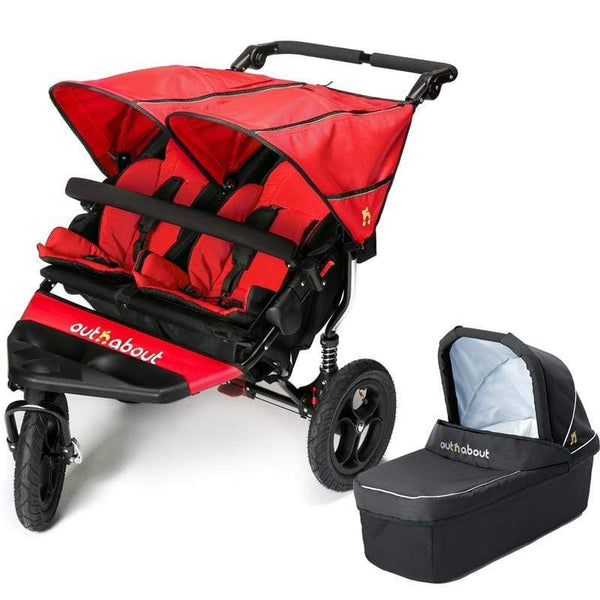 Out n About double buggies Out n About Double Nipper V4 With 1 Carrycot Carnival Red Y32JZ90
