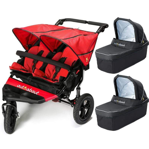 Out n About double buggies Out n About Double Nipper V4 With 2 Carrycots Carnival Red RHB13CC