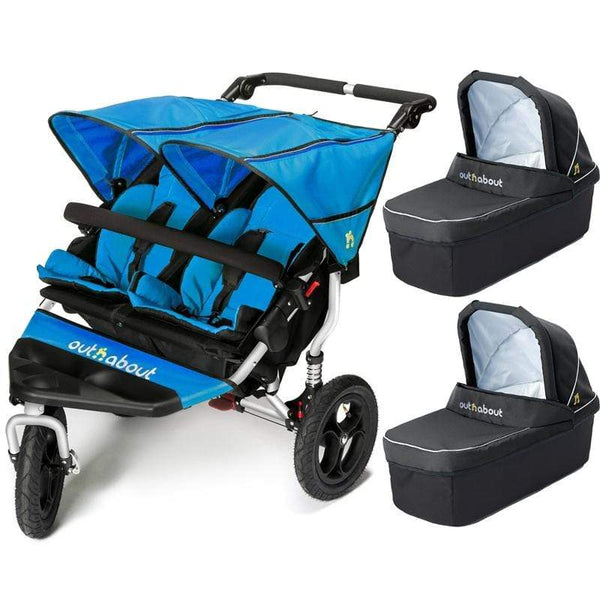 Out n About double buggies Out n About Double Nipper V4 With 2 Carrycots Lagoon Blue MB28LXJ
