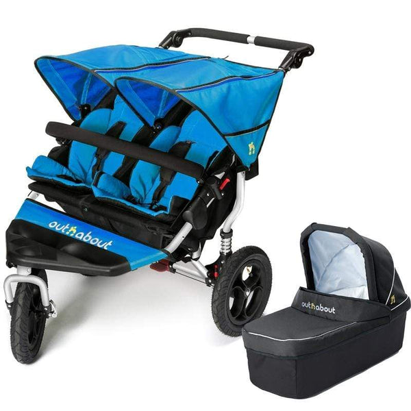 Out n About double buggies Out n About Double Nipper V4 With 1 Carrycot Lagoon Blue PK7MXDO