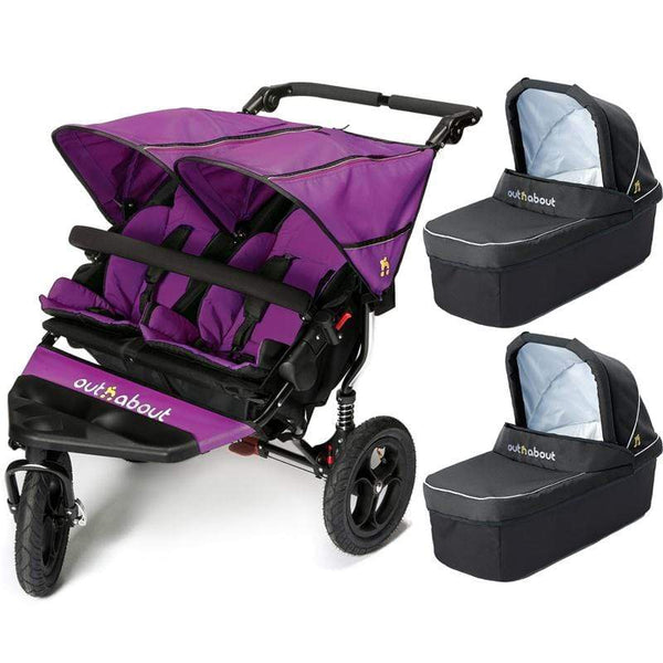 Out n About double buggies Out n About Double Nipper V4 With 2 Carrycots Purple Punch KA9EWHJ
