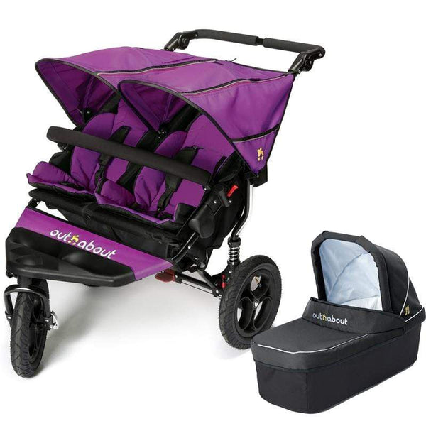 Out n About double buggies Out n About Double Nipper V4 With 1 Carrycot Purple Punch XCDUEUM