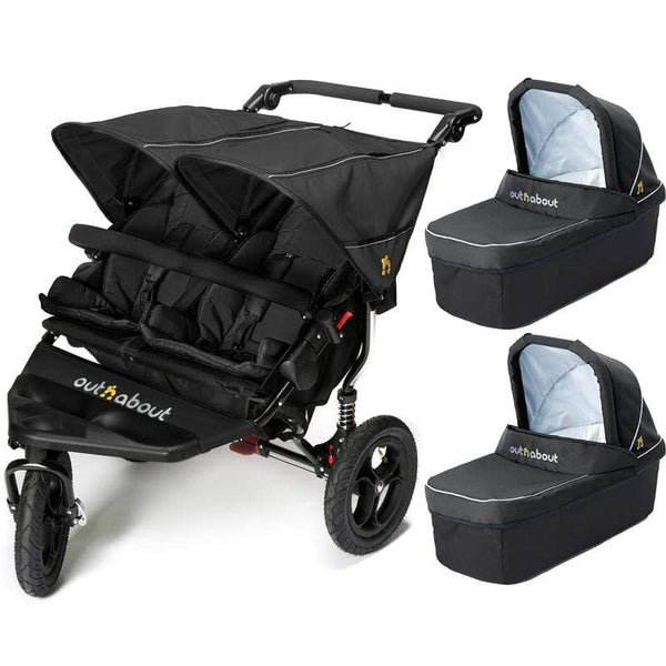 Out n About double buggies Out n About Double Nipper V4 With 2 Carrycots Raven Black 0H91NEM