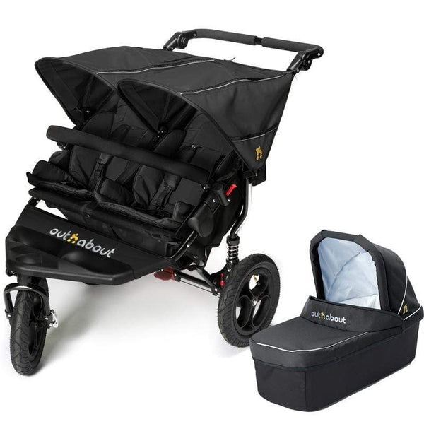 Out n About double buggies Out n About Double Nipper V4 With 1 Carrycot Raven Black KA6GXRB