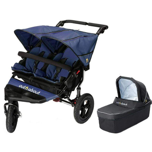 Out n About double buggies Out n About Double Nipper V4 With 1 Carrycot Royal Navy XPX4WSQ