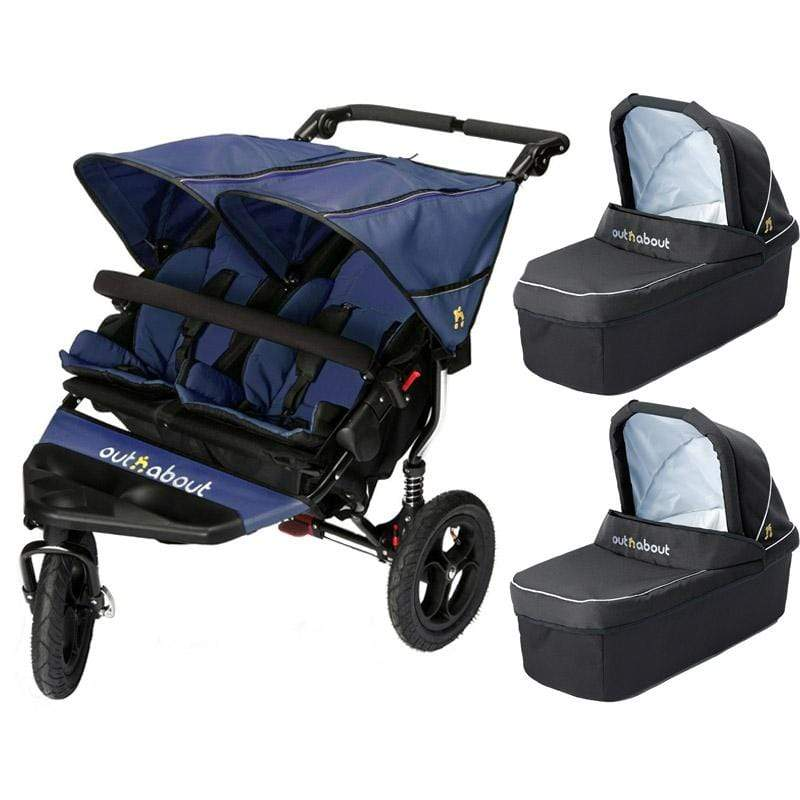 Out n About double buggies Out n About Double Nipper V4 With 2 Carrycots Royal Navy DEXL81T