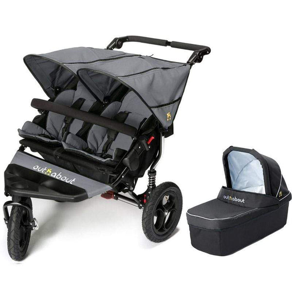 Out n About double buggies Out n About Double Nipper V4 With 1 Carrycot Steel Grey OXZSKD4