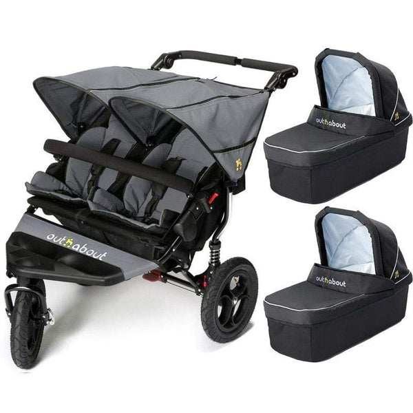 Out n About double buggies Out n About Double Nipper V4 With 2 Carrycots Steel Grey 7y0c7i1