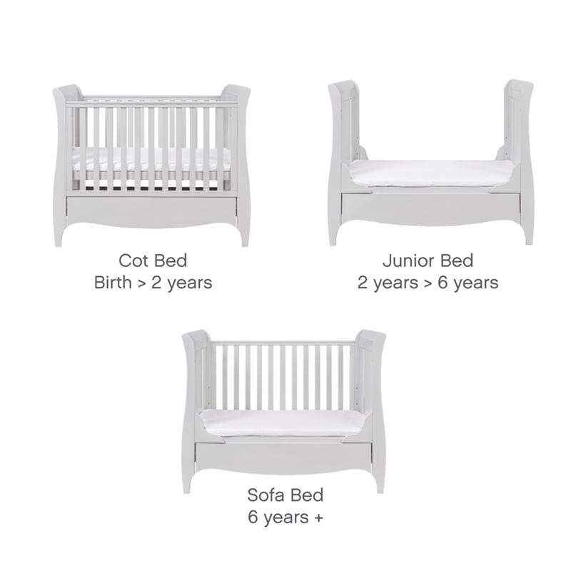 Tutti Bambini baby cot beds Tutti Bambini Roma Sleigh Cotbed Dove Grey & Free Sprung Mattress 211059/72