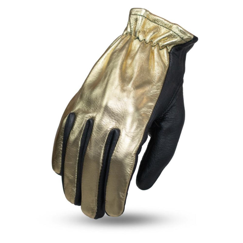GUANTES DE PIEL PARA DAMA FIRST MFG ROPER - GOLD METALLIC