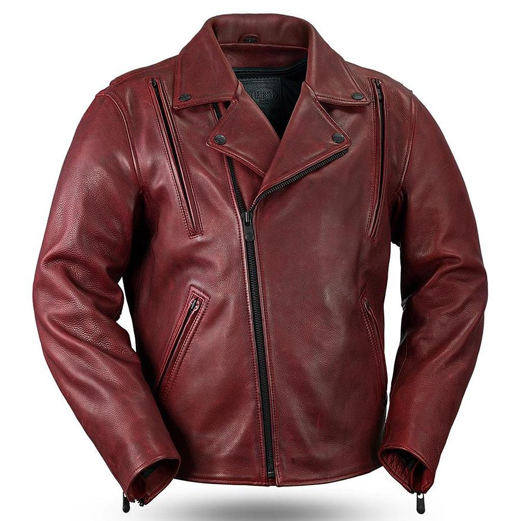 CHAMARRA DE PIEL FIRST MFG NIGHT RIDER - OXBLOOD