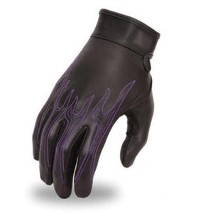 GUANTES DE PIEL FIRST MFG FLAMES - BLACK