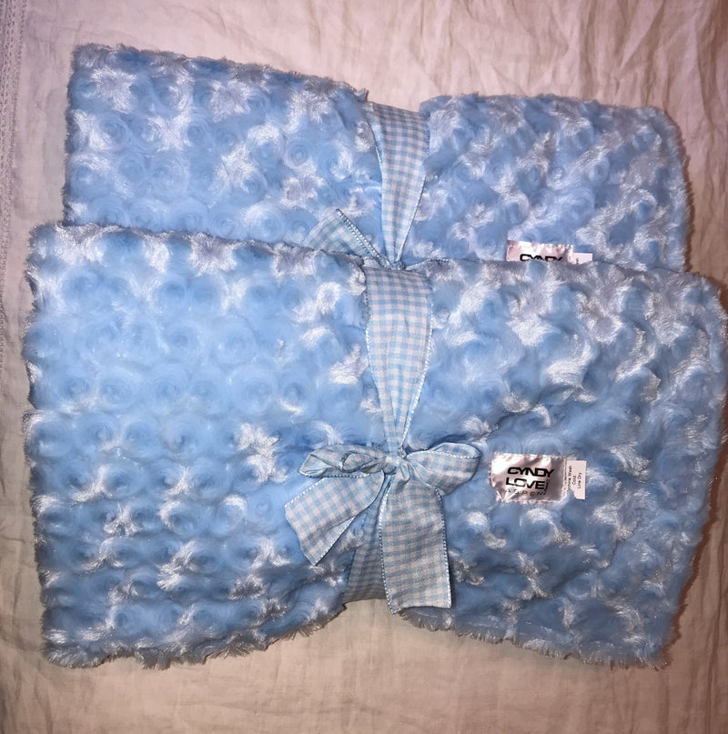 Baby Boy or Girl Blanket Bedding Blue Rosebud Print - Cyndy Love Designs