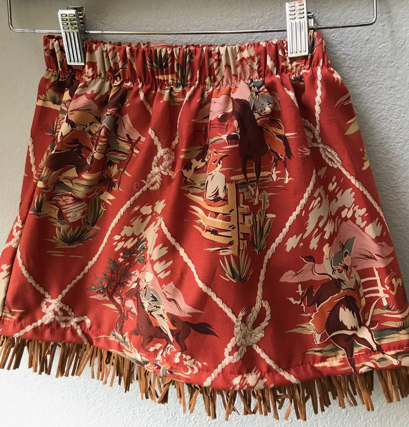 Little Girls Skirt Red Cowboy Print with Fringe - Cyndy Love Designs