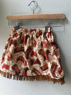 Skirt Cowboy Boots, Brown, Cowgirl Boot Print Skirt, Cowboy Print, Suede Fringe - Cyndy Love Designs