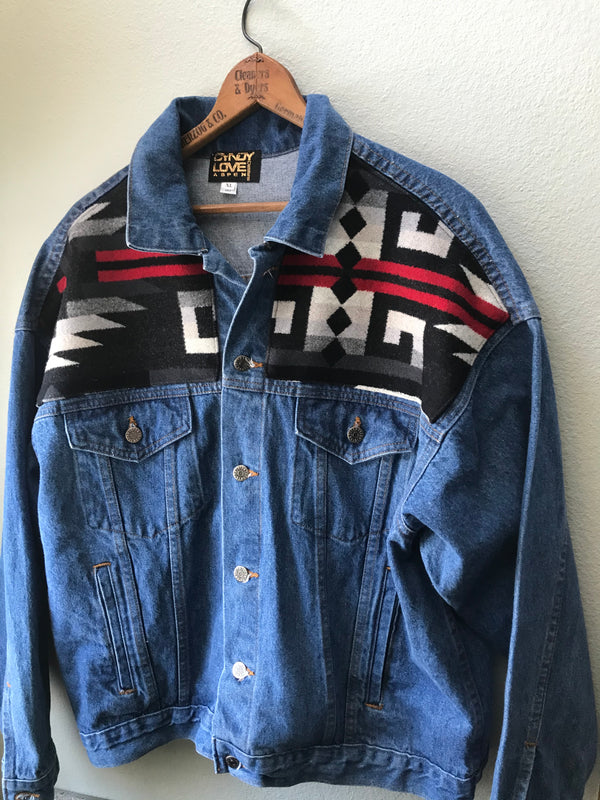 Men's or Women's XXL Denim Vintage Pendleton Wool Native American Jean Jacket - Cyndy Love Designs