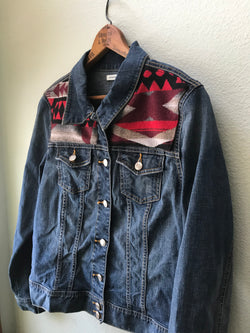 Denim Women's Pendleton Jean Jacket Size Large Vintage Native American with Oregon wool - Cyndy Love Designs