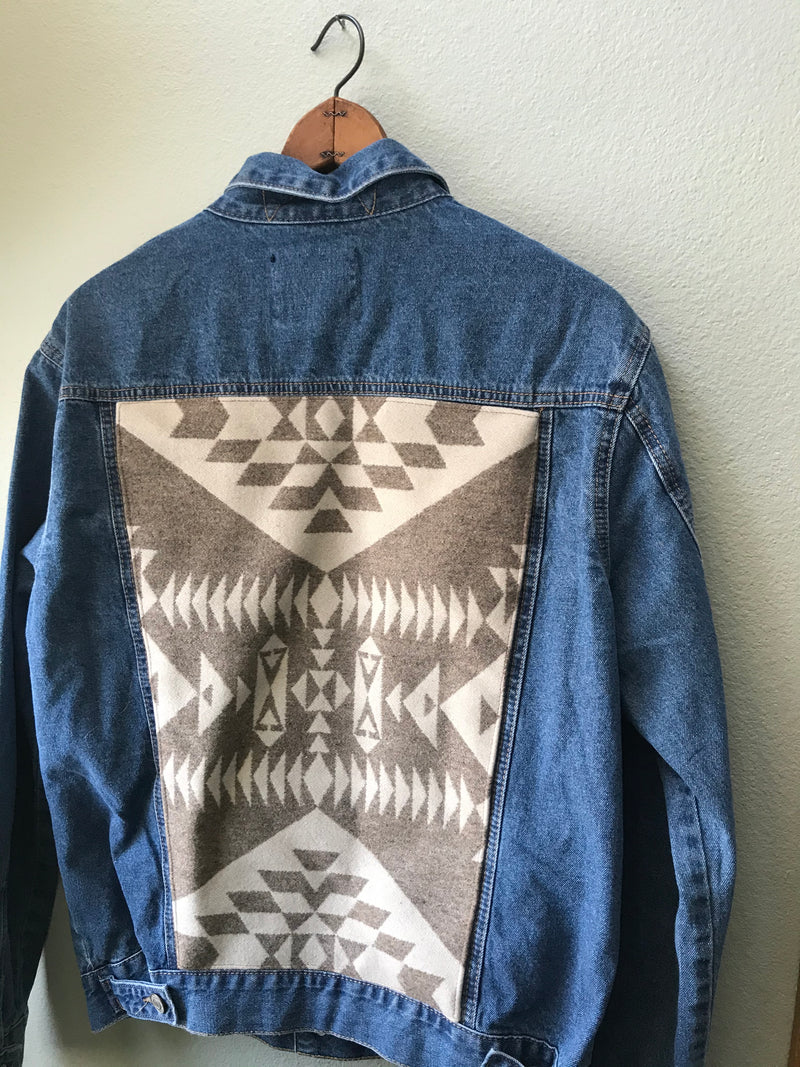 Men's or Women's Large Denim Pendleton Wool Native American Jean Jacket - Cyndy Love Designs
