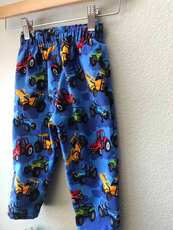 Boys Blue Flannel Pant with Trucks, Tractors and Elastic Waist - Cyndy Love Designs