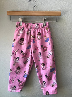 Girls Pink Flannel Ballet Pant with Ballerinas and Tutus, Elastic Waist - Cyndy Love Designs