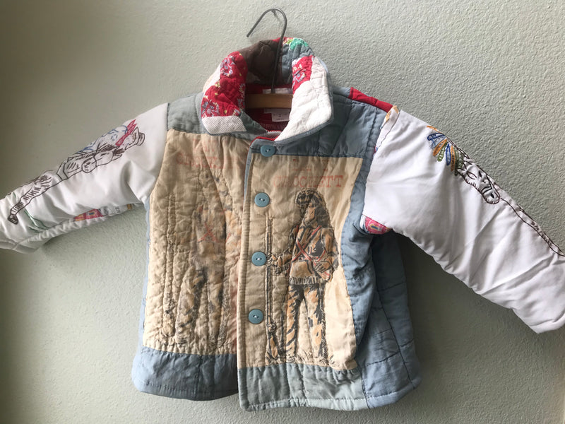 Little Boy or Girl Vintage Quilt Keepsake Jacket Antique Cowboy Embroidery Jacket OOAK Size 2 - Cyndy Love Designs