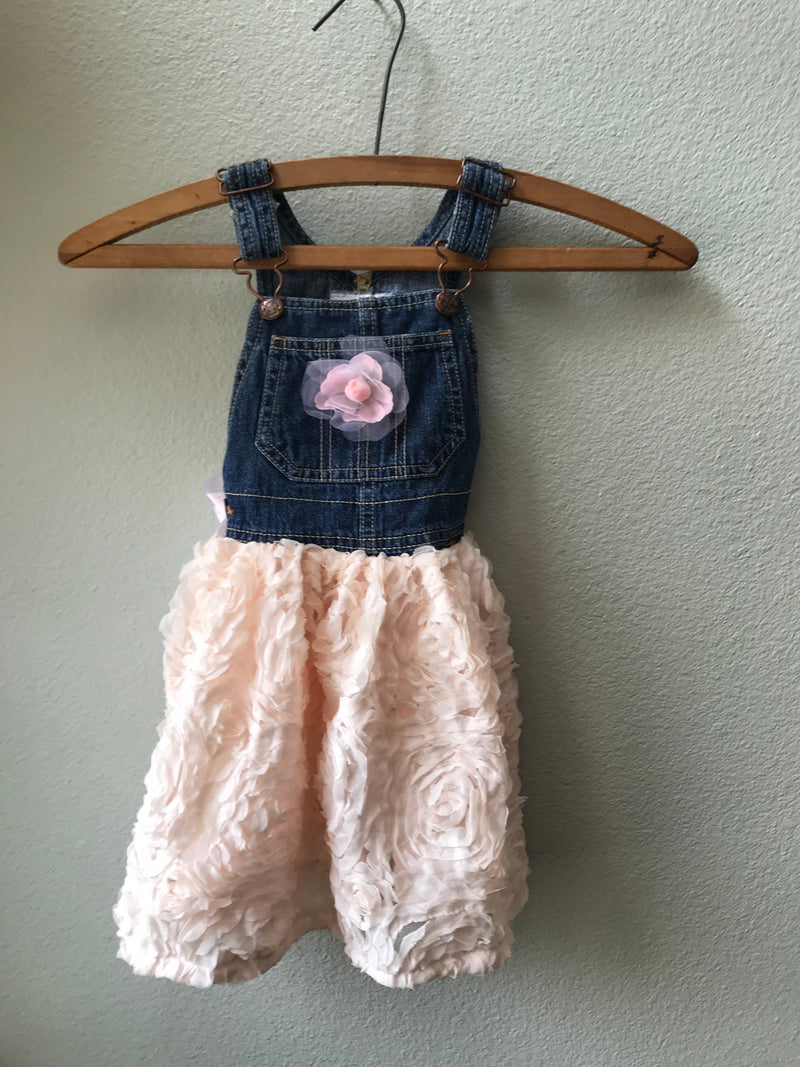Girls Denim and Lace Overall Dress - Cyndy Love Designs