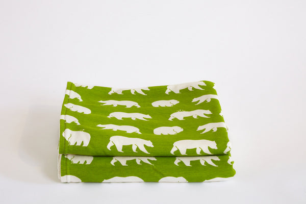 Organic Cotton Baby Blanket Green & Cream Bear Natural Baby Blanket - Cyndy Love Designs