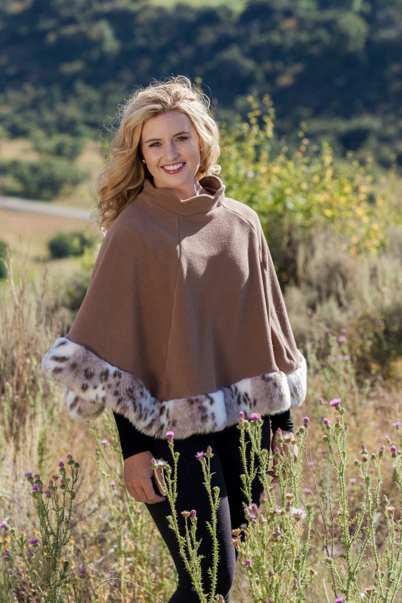 Ladies Fall Camel Colored Fleece Poncho Wrap Shawl Cape Faux Fur Snow Leopard - Cyndy Love Designs