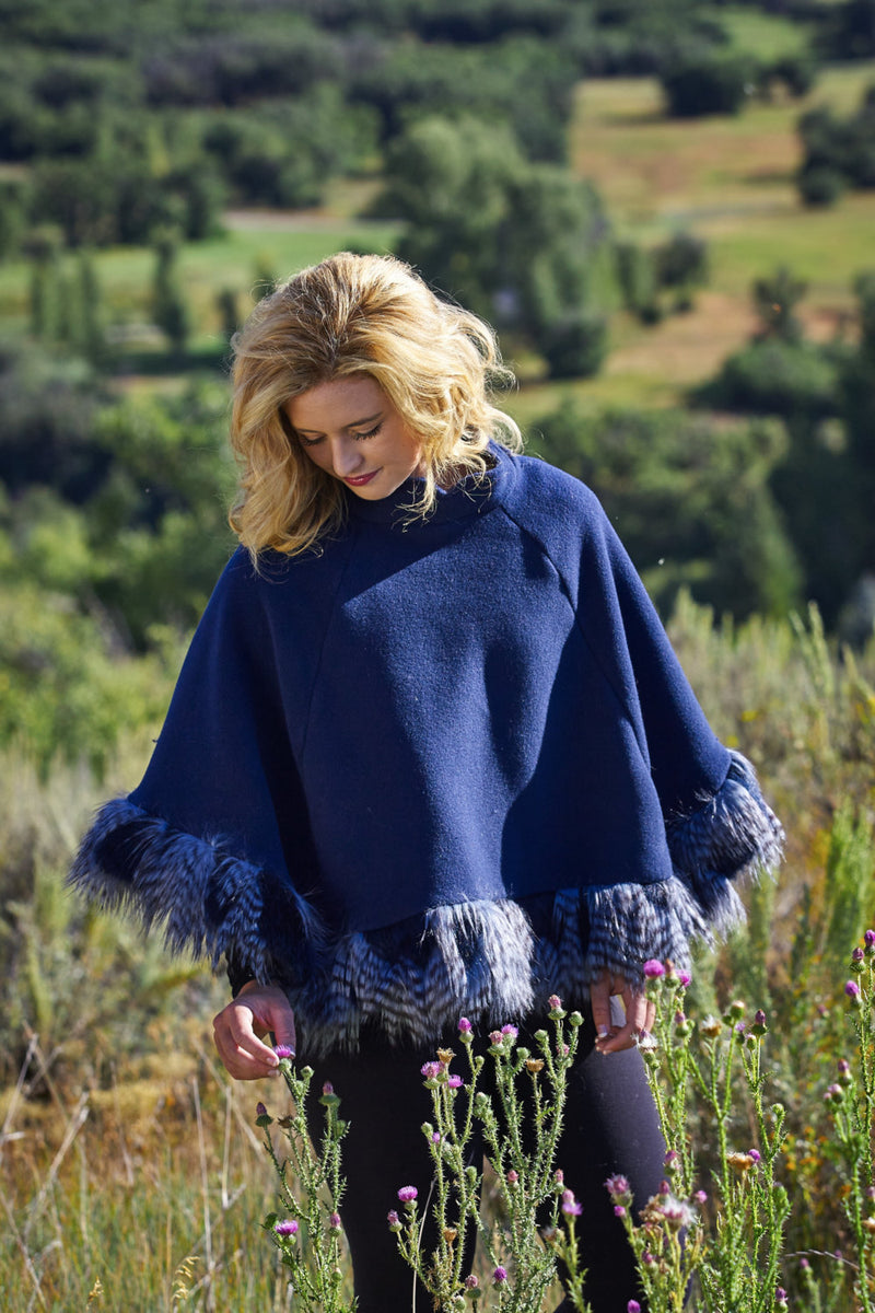 Ladies Fall Blue Poncho Wrap Shawl Cape Faux Fur Ostrich Feather Trim - Cyndy Love Designs