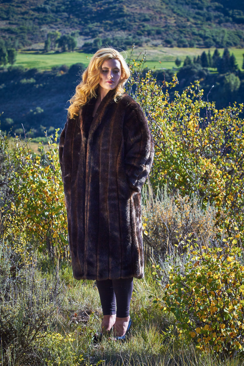 Ladies Fall Brown Faux Mink Sable Full Length Coat - Cyndy Love Designs