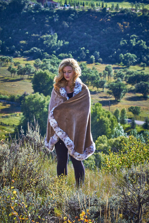 Ladies Women's Tan/Camel colored fleece Wrap Shawl Cape Snow Leopard Faux Fur - Cyndy Love Designs