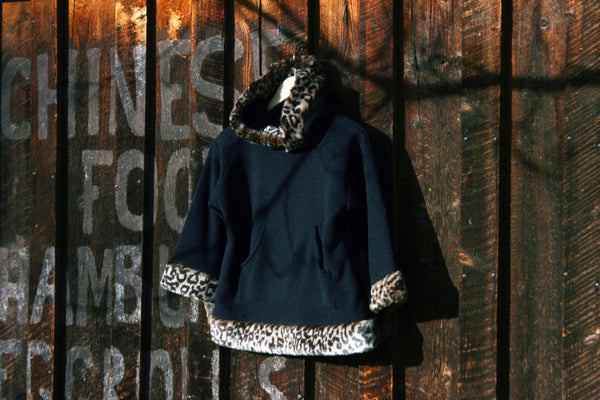 Girls Fleece Hooded Pullover Sweatshirt Faux Fur Leopard Cheetah Trim Polartec Sweatshirt - Cyndy Love Designs