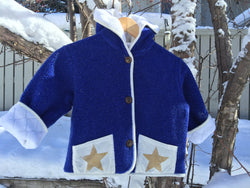 Kids Fleece Hooded Star Coat Jacket Royal Blue Polartec Polarfleece Custom Jacket - Cyndy Love Designs