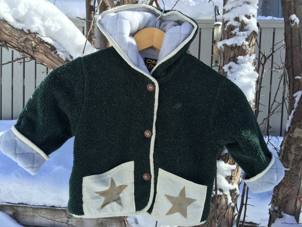 Kids Fleece Hooded Star Coat Jacket Forest Green Polartec Polarfleece Custom Jacket - Cyndy Love Designs