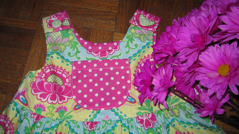 Little Girls Pink Green Henna Floral Summer Beach Dress - Cyndy Love Designs