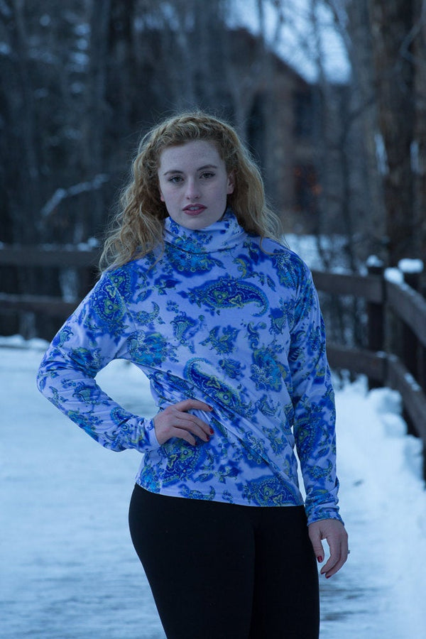 Womens Stretch Velvet Turtleneck Blue Paisley Print - Cyndy Love Designs