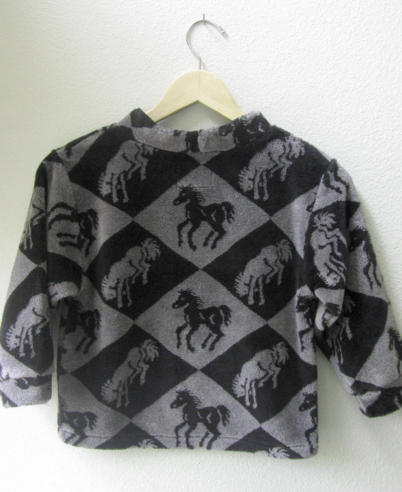 Fleece Soft Pullover Horse Print Unisex Gender Neutral Grey Black Running Galloping Horses Size 5 - Cyndy Love Designs