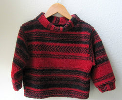 Kids Fleece Berber Soft Pullover Unisex Gender Neutral Black and Red Stripe Sweater Jacket Size 2T - Cyndy Love Designs
