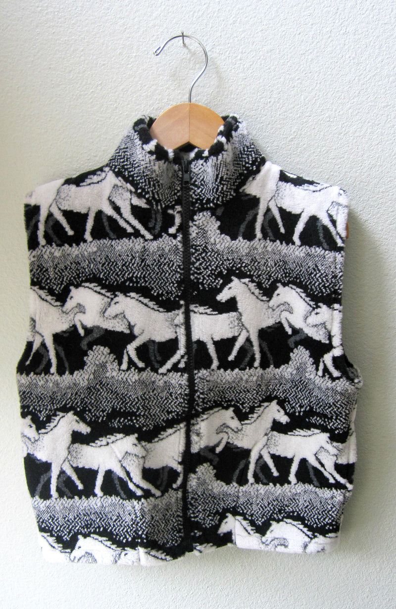 Kids Black and White Horse Fleece Zipper Vest Child Coat - Cyndy Love Designs