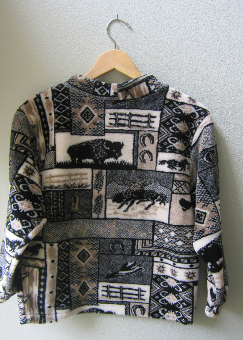Kids Fleece Pullover Horse Buffalo WesternPrint Unisex Gender Neutral Black Tan Cream Size 8 - Cyndy Love Designs