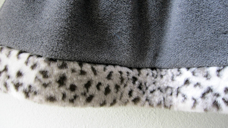 Little Girls Skirt gray fleece polartec with Faux Fur Leopard Trim- Size 4 - Cyndy Love Designs