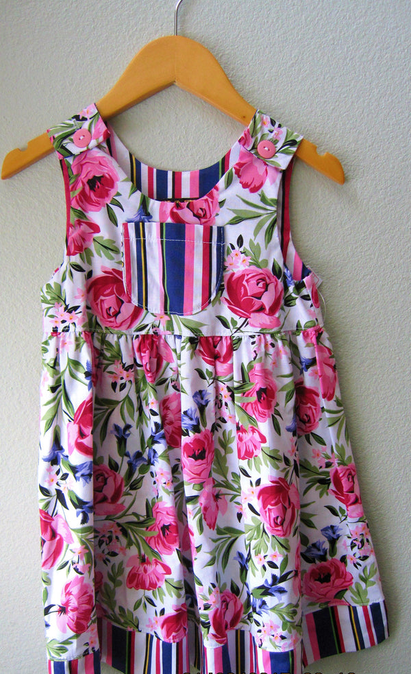 Little Girls Pink Peony Purple Floral Summer Beach Dress - Cyndy Love Designs