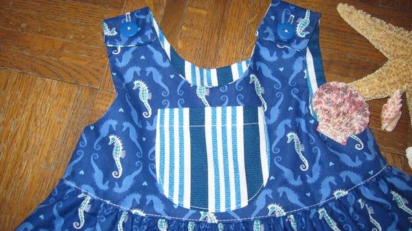 Little Girls Blue Seahorse Summer Beach Dress - Cyndy Love Designs