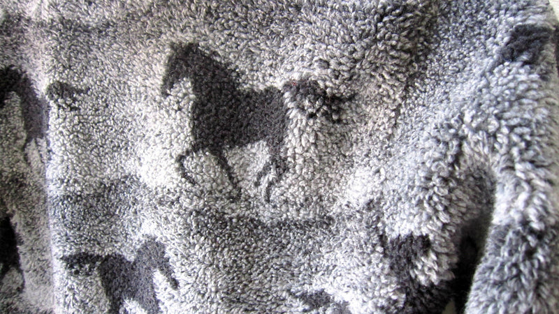 Fleece Pullover Horse Print Unisex Gender Neutral Grey Blue Running Horses Size 4  Size 5 - Cyndy Love Designs