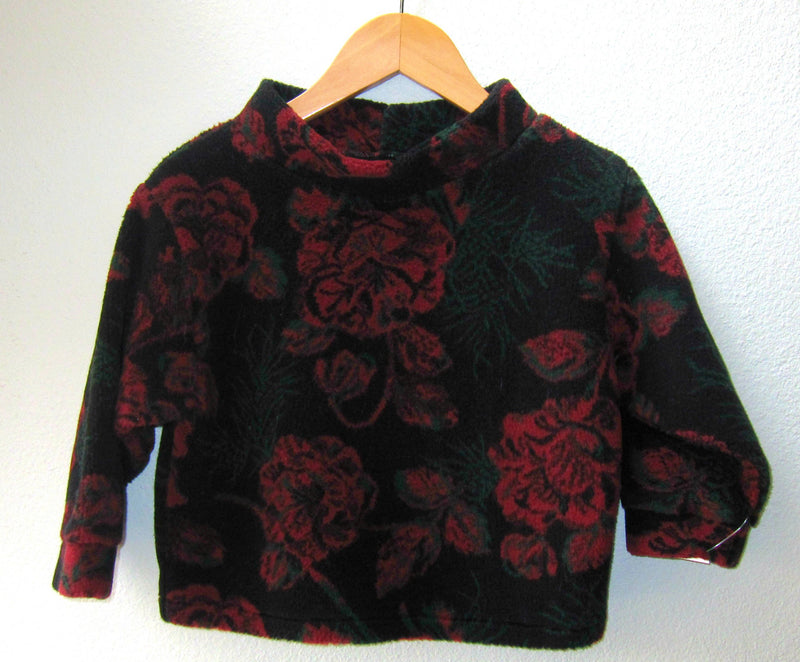 Kids Fleece Pullover Jacket Sweater Red Floral Print Little Girl Super Soft Plush - Cyndy Love Designs