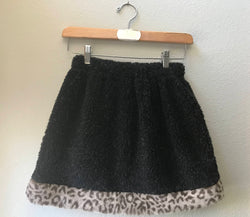 Little Girls Skirt Black Berber fleece with Faux Fur Leopard Trim, Size 10, Size 8 - Cyndy Love Designs